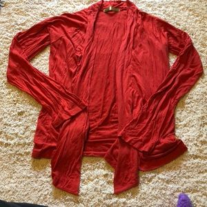 Sweaters - L red draped front sweater